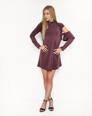 Plum Dress With Ruffles and Cutout - alma boutique