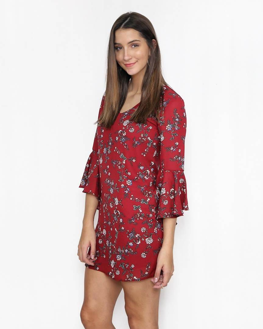Lila Burgundy Floral Dress with Bell Sleeves - alma boutique f6985ec5e