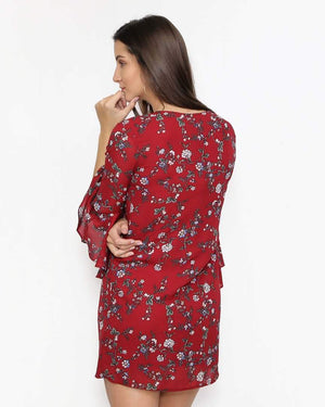 Lila Burgundy Floral Dress with Bell Sleeves - alma boutique