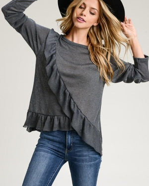 Charcoal Ruffled Long Sleeve Top - alma boutique