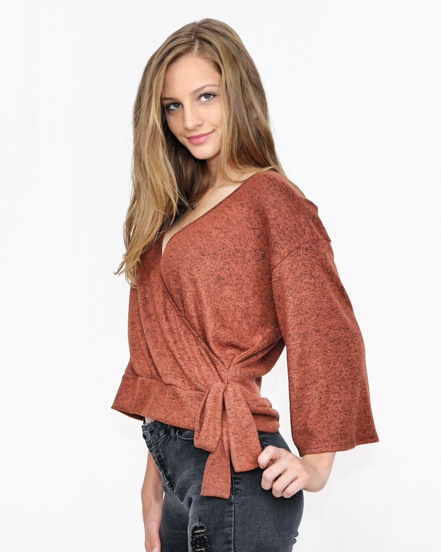 Rust Orange Faux Wrap Knit Top - alma boutique