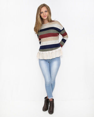 Wide Striped Multi Color Top with Lace Detail Hem - alma boutique