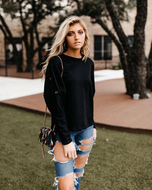 Black Button Sweatshirt - alma boutique