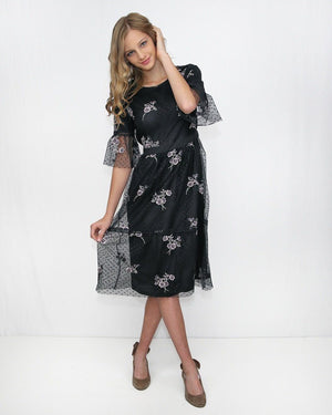 Black Embroidery Short Sleeve Midi Dress - alma boutique
