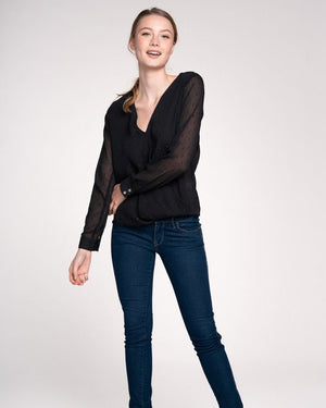 Black Sparkle Wrap Top with Sheer Long Sleeves - alma boutique