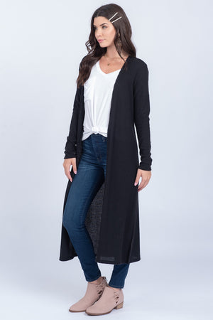 Black Soft Waffle Knit Long Sleeve Cardigan - alma boutique