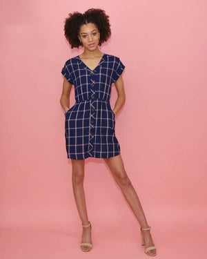 The Katie Blue and Pink Plaid Dress - alma boutique