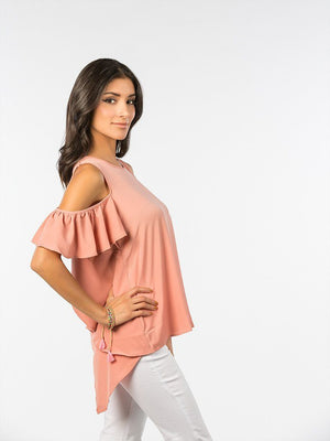 Blush Cold Shoulder Top - alma boutique