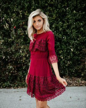 Cranberry Lace Point Chiffon Dress - alma boutique