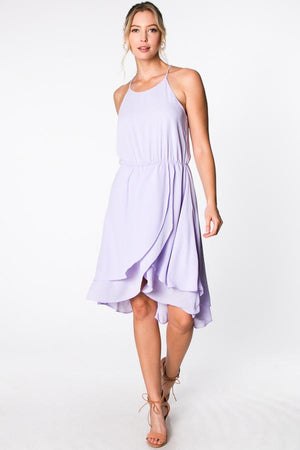 The Aida Hi-Low Dress With Front Overlay - alma boutique