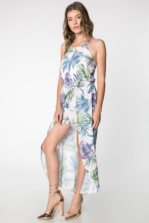 The Tropical Hi-Low Romper Maxi Dress - alma boutique
