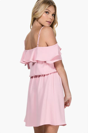 The Petal Pink Dress with Ruffles and Cold Shoulder Straps - alma boutique