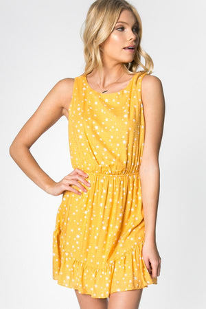 Yellow Sunshine and Stars Dress - alma boutique