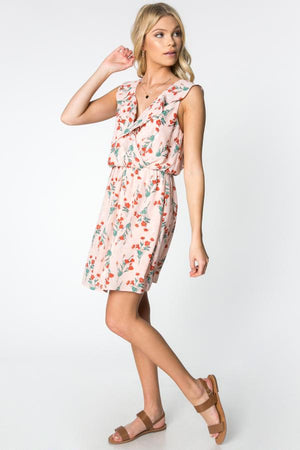 The Melanie Pink Deep V-Neck Floral Dress - alma boutique
