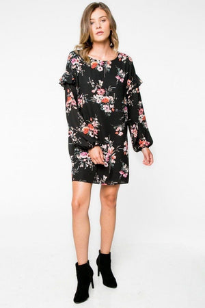 The Addison Long Sleeve Black Floral Dress - alma boutique