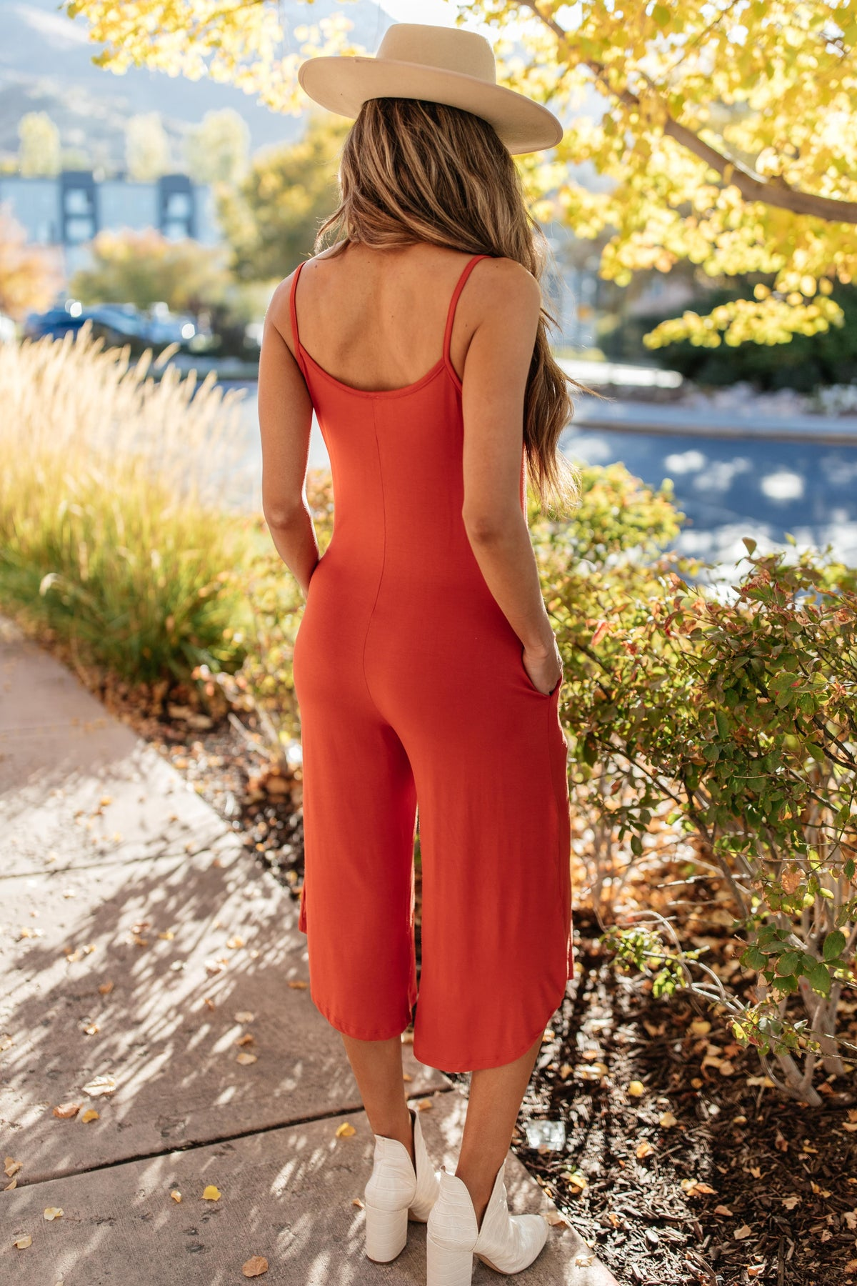 Good Better Best Cropped Tank Jumpsuit in Rust