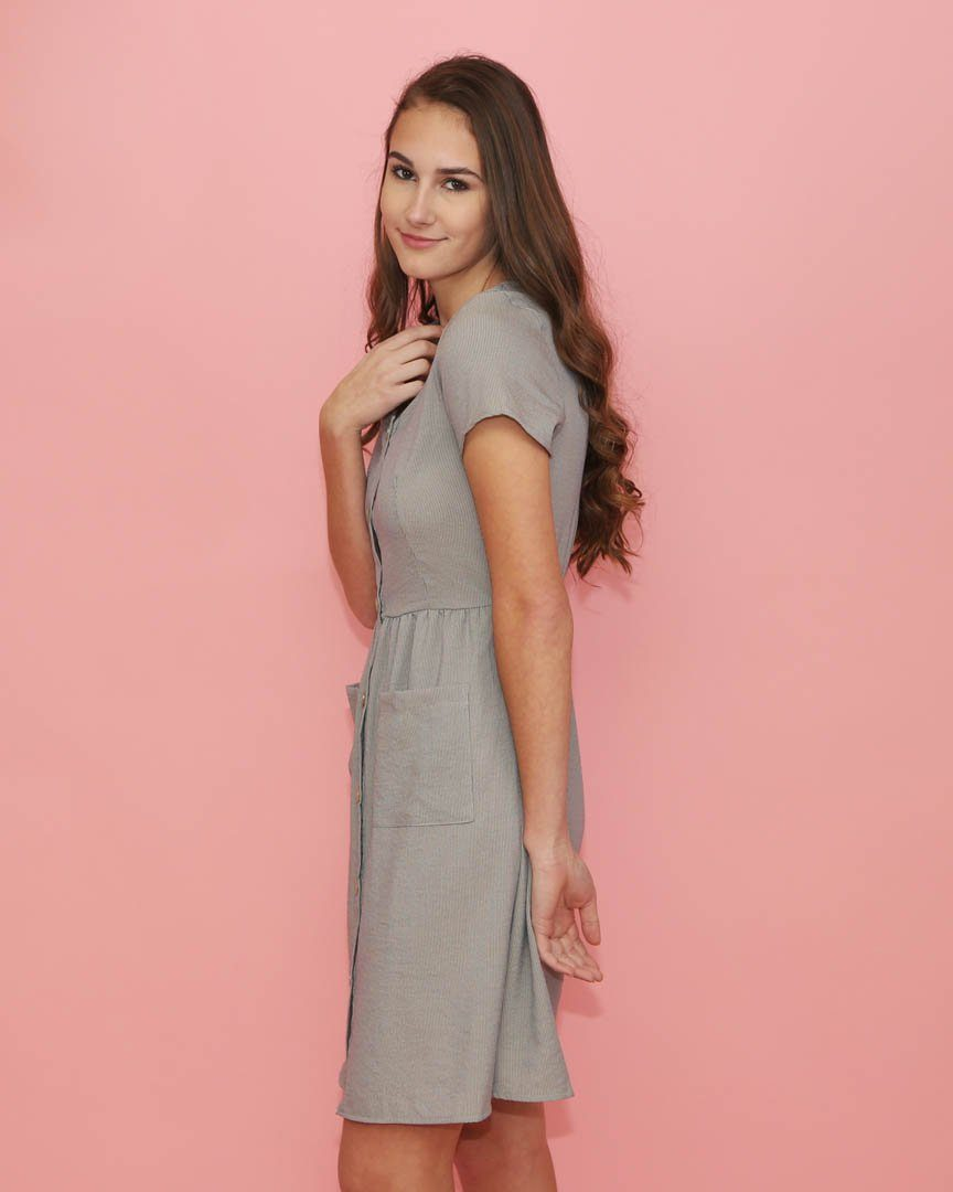 Light Gray Striped Button Up Dress with Pockets - alma boutique