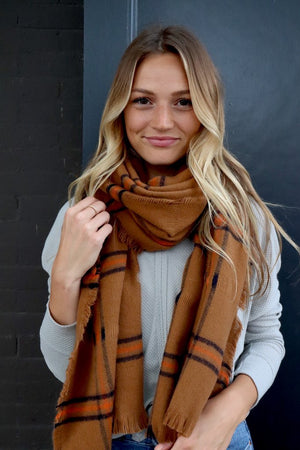Long Plaid Tan Scarf - alma boutique