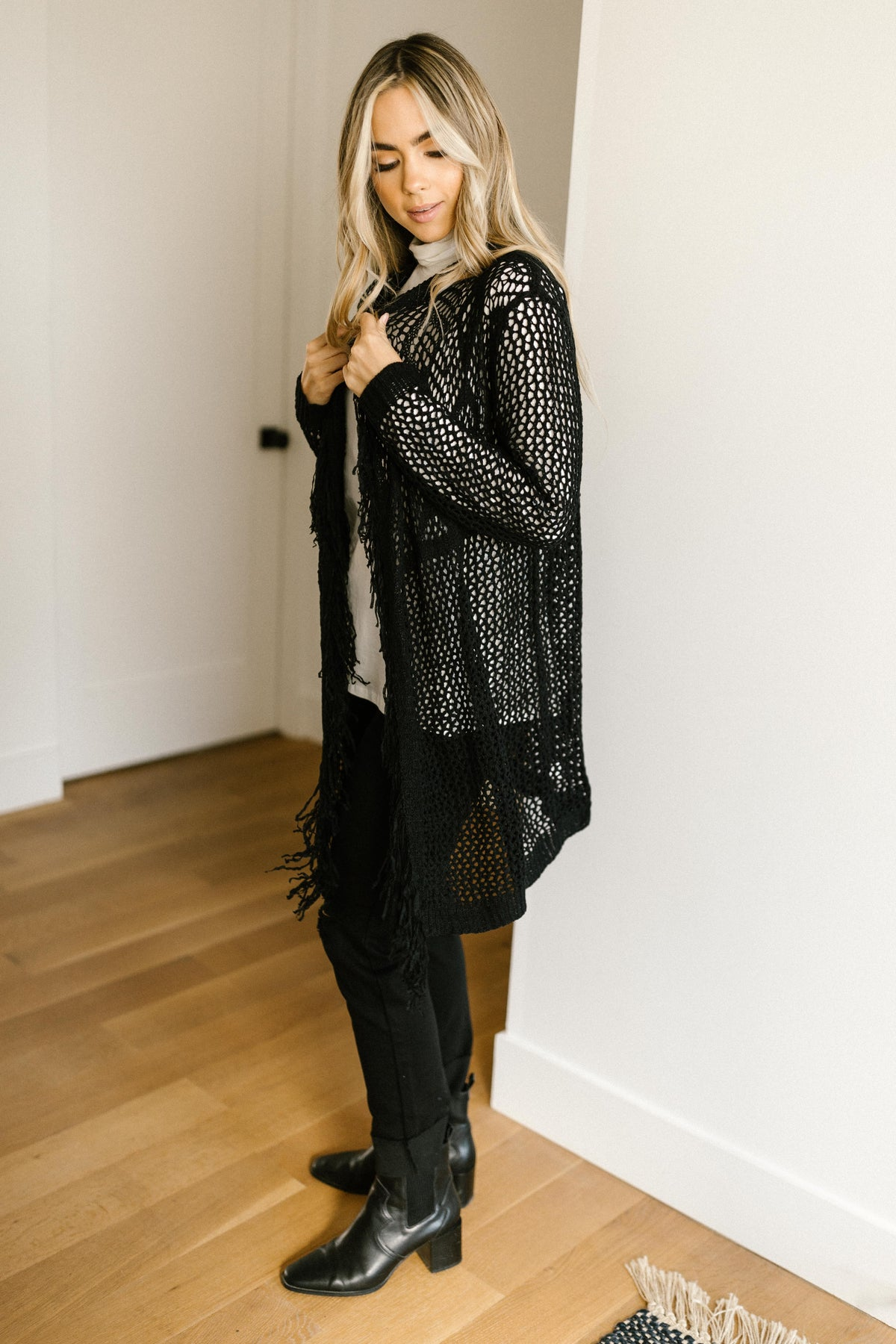 Knit And Fringe Cardigan in Black