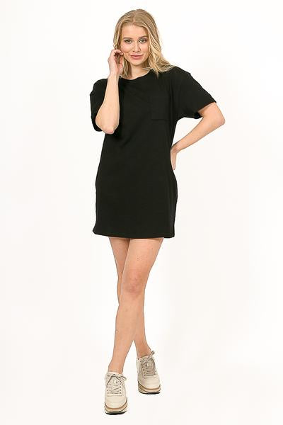 Maddie Black T-Shirt Dress - alma boutique