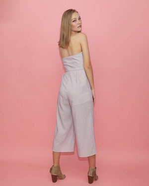 Lavender Tube Jumpsuit with Front Knot - alma boutique