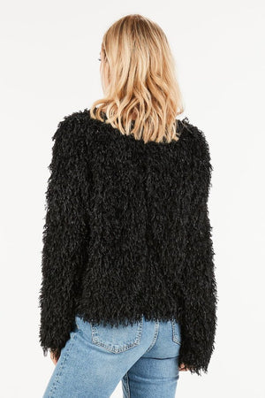 Fringe soft sweater in Black