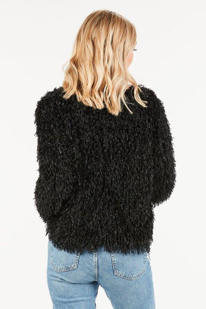 Fringe soft sweater in Black - alma boutique