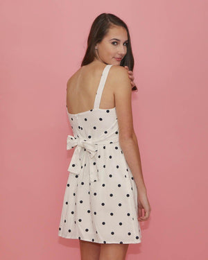 White and Black Polka Dot Dress - alma boutique