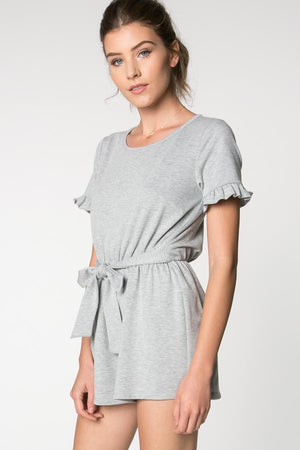 The Livi Grey Open Back Romper with Front Tie - alma boutique