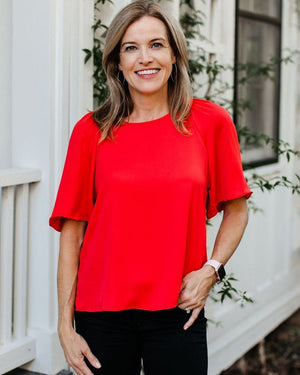 The Fire Red Wide Sleeve Top - alma boutique