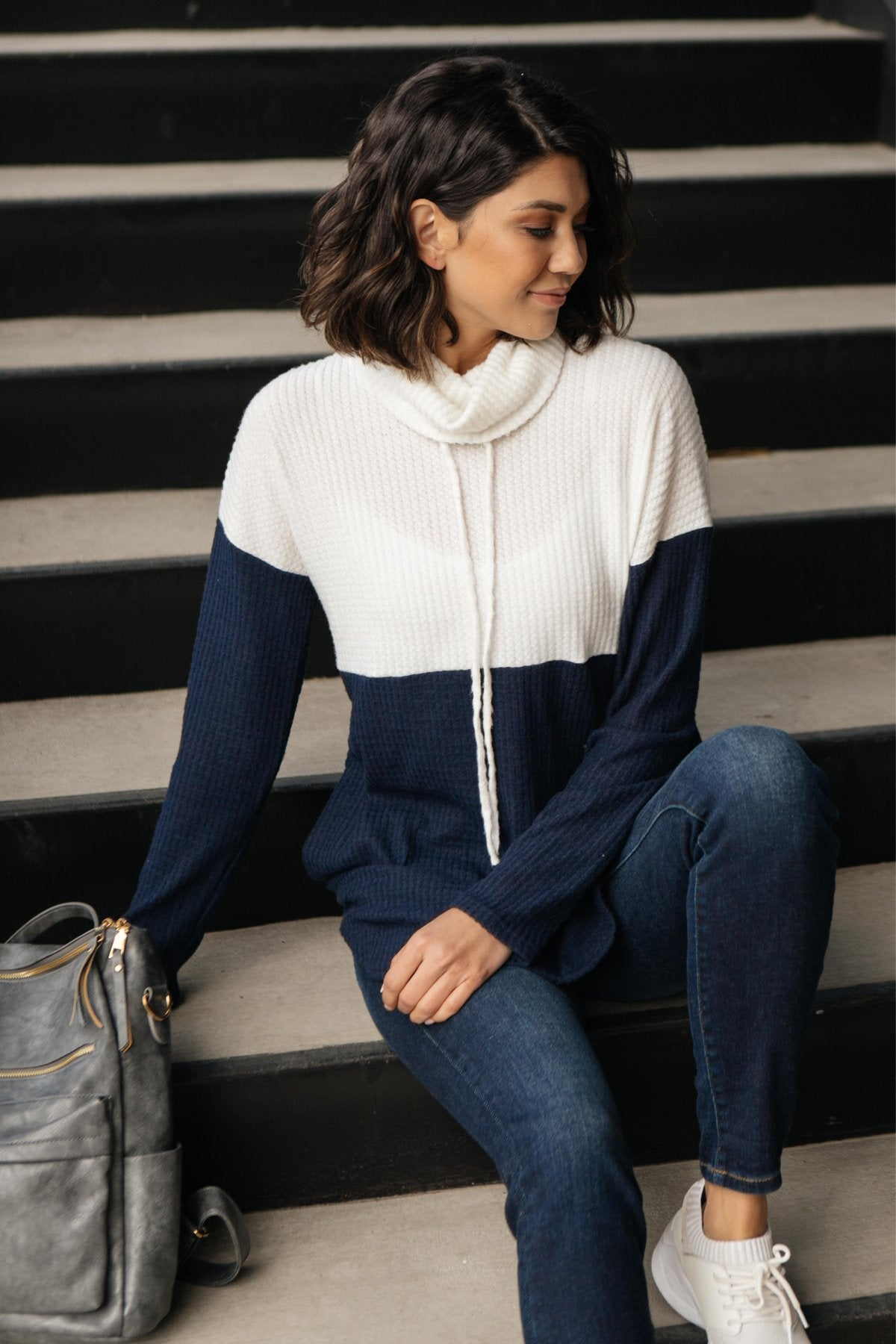 Rise Above Cowl Neck In Blue & White