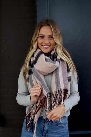 Classic Plaid Taupe Scarf - alma boutique