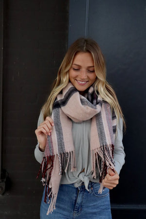 Taupe Plaid Scarf | Alma Boutique