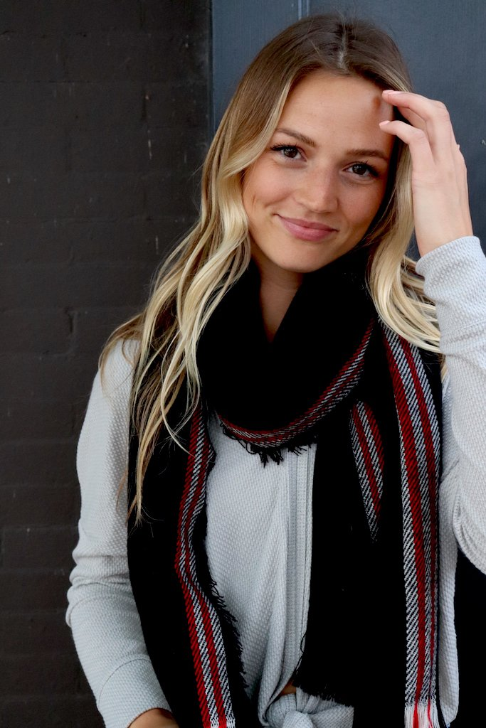 Long Black and Red Scarf - alma boutique