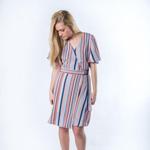 The Emily Coral and Blue Striped Wrap Dress - alma boutique