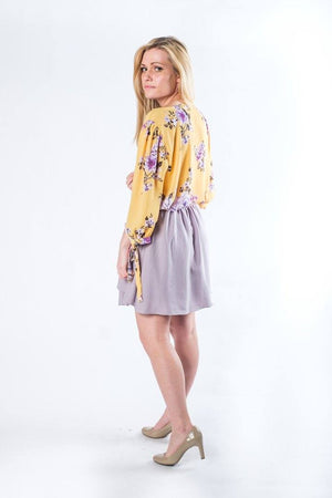The Lori Lavender Grey Faux Wrap Skirt - alma boutique
