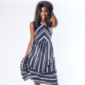The Camille Navy Striped Maxi Dress - alma boutique