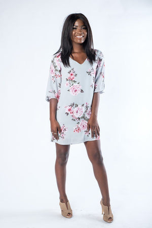 The Melissa Silver Floral Dress with Cutout Sleeves - alma boutique