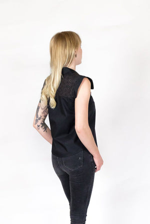 Adria Black Eyelet Top - alma boutique