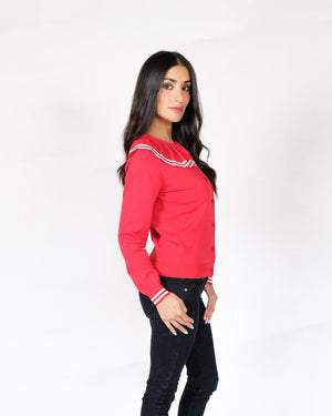 Retro Red Pleated Cardigan - alma boutique