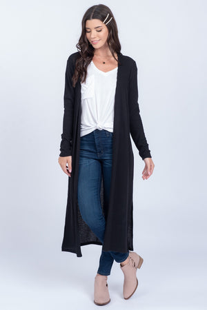 Black Soft Waffle Knit Long Sleeve Cardigan