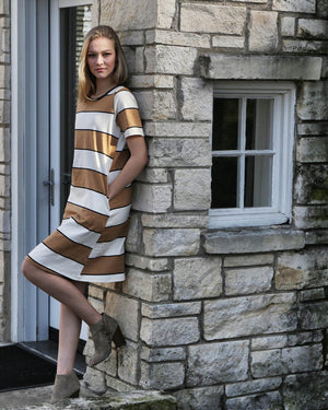 Knit Stripe Taupe Dress - alma boutique