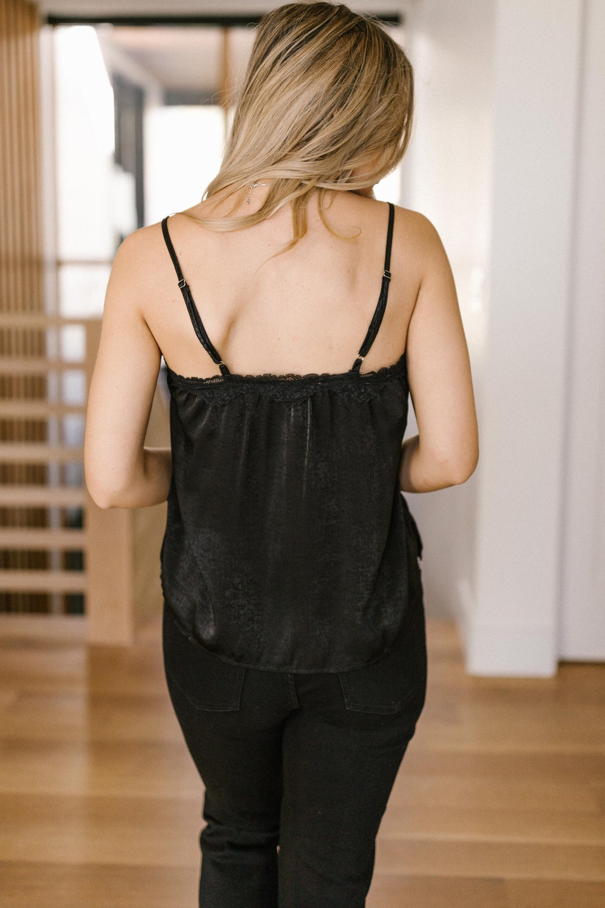 Sure Of Yourself Sheen Black Camisole