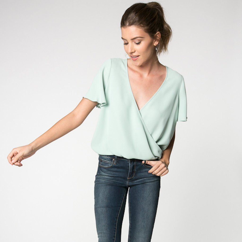 The Mint Short Sleeve Crossover Wrap Top - alma boutique