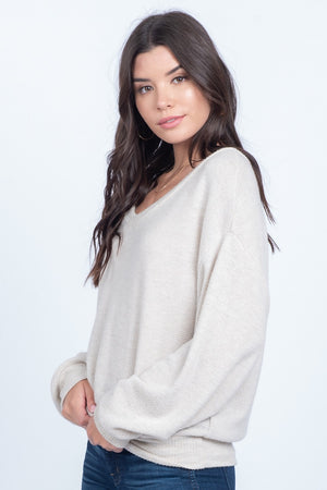 Kari Soft Knit Top in Oatmeal
