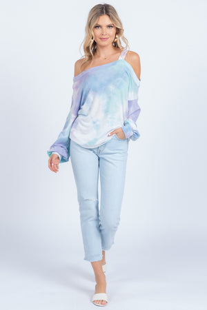 Tie Dye Spring Splash One Shoulder Top - alma boutique