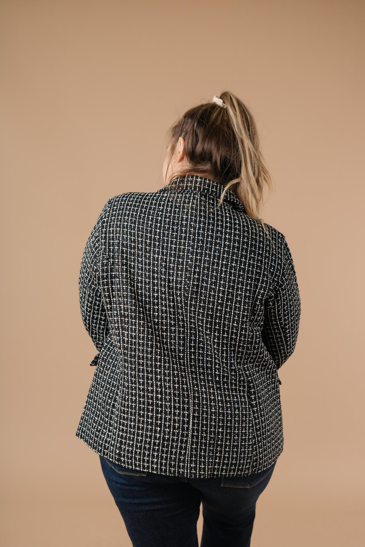 Delightful Tweed Blazer In Black