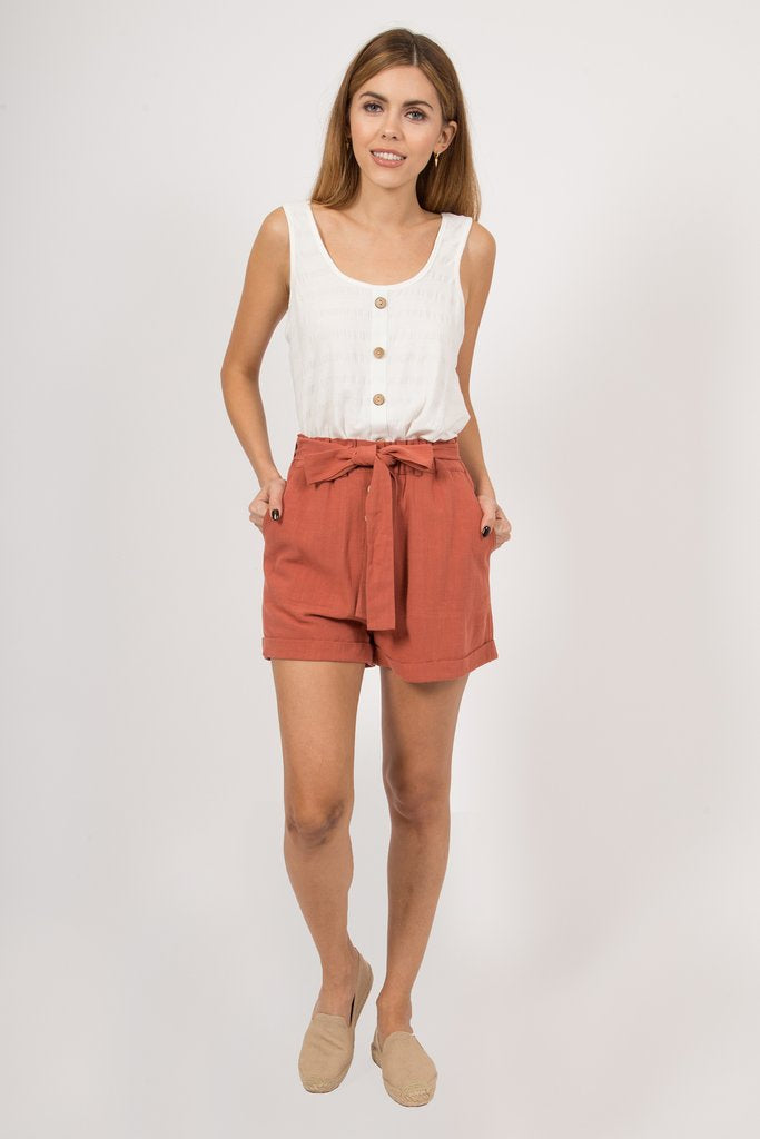 Kayla Rust Paperbag Shorts - alma boutique