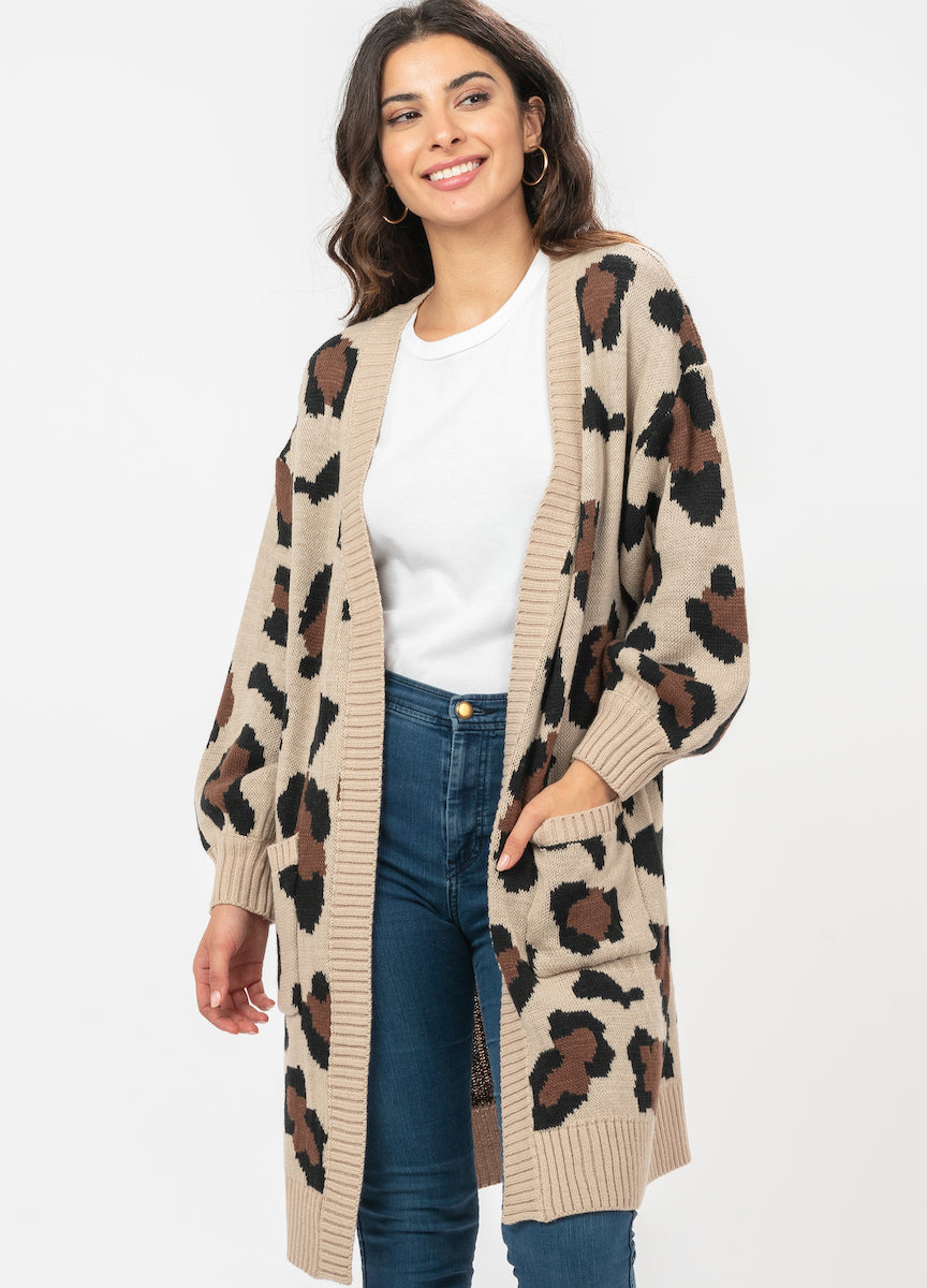 Animal Print Cardigan with Pockets - alma boutique