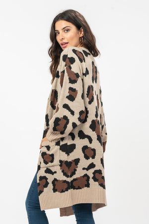 Animal Print Cardigan with Pockets
